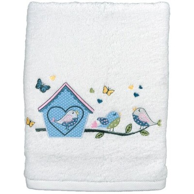 Serviette de toilette lovely bird blanc